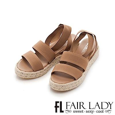 Fair Lady 鬆緊寬帶繫踝草編厚底涼鞋 卡其