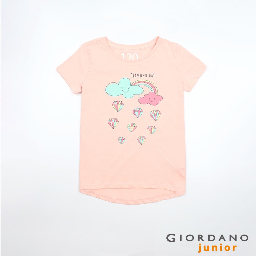 GIORDANO 童裝夢幻童話印花純棉T恤-53 薄紗粉紅