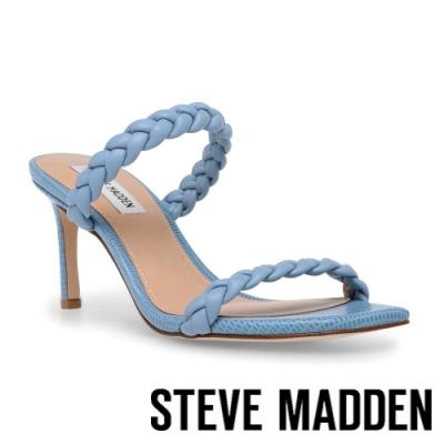 STEVE MADDEN-ZAYNA 編織雙帶方頭細跟拖鞋-藍色