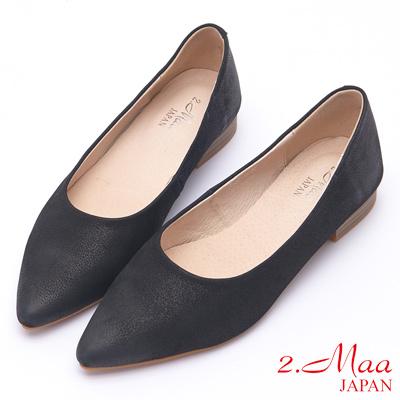2.Maa 素面設計牛皮高跟尖頭包鞋 - 黑