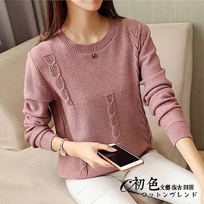 麻花綁帶造型針織衫-共4色(F可選)   初色