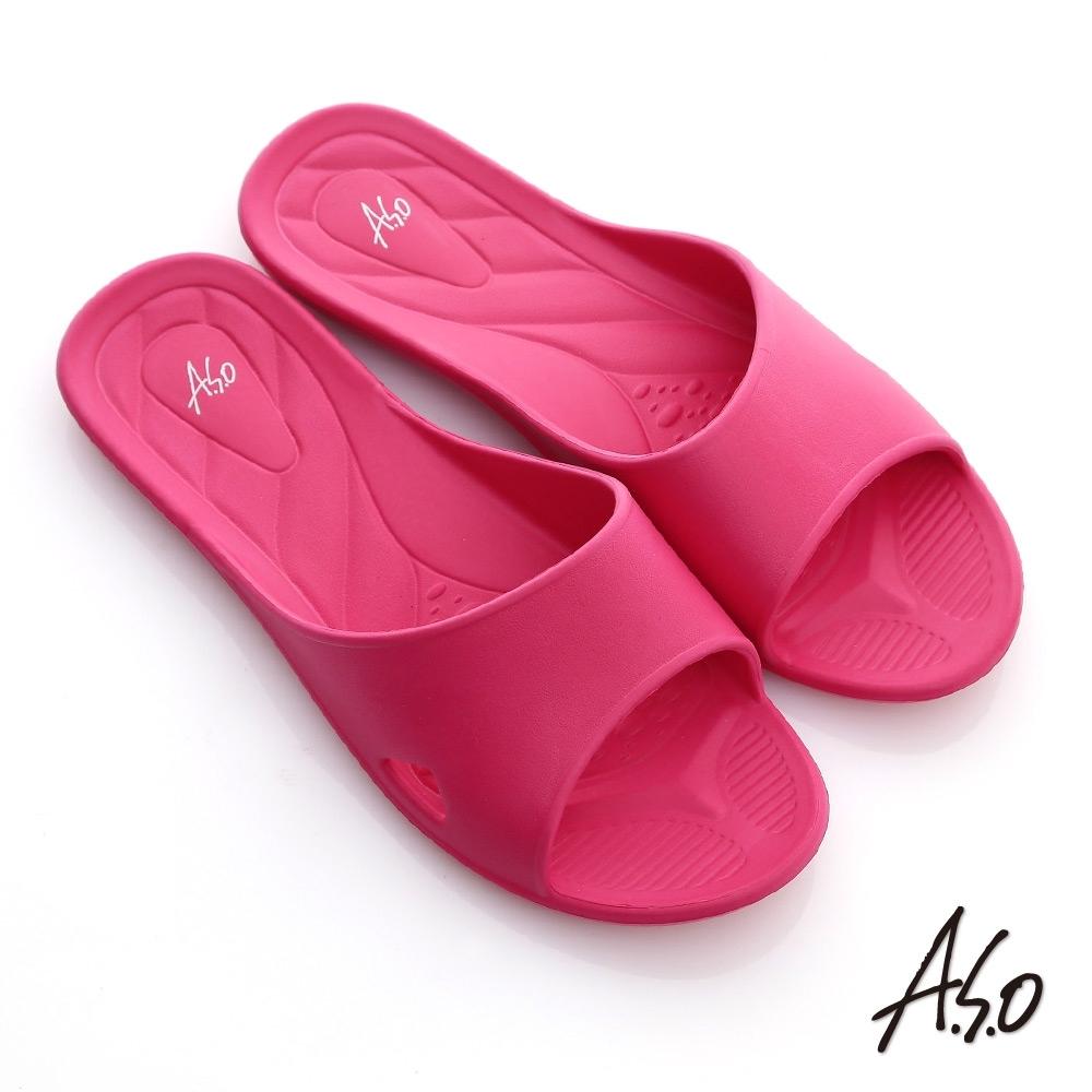 A.S.O 輕量抗菌居家鞋-桃紅(3入組)