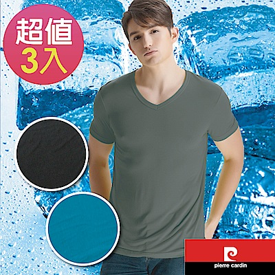 Pierre cardin 皮爾卡登 涼快舒爽V領短袖衫-3件組(三色可選)