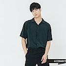 H:CONNECT 韓國品牌 男裝-小翻領嫘縈短袖襯衫-藍