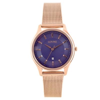 LOVME 文青時尚米蘭手錶-IP玫x寶藍/33mm