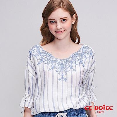 ETBOITE 箱子  花卉繡花襯衫(白)