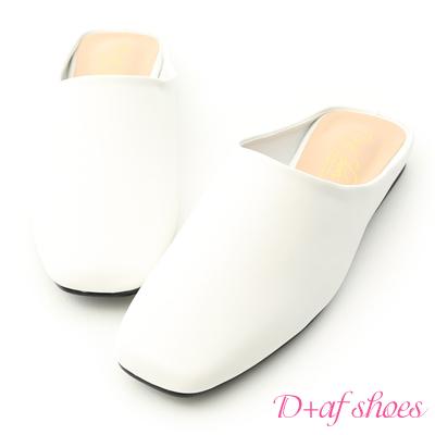 D+AF 極簡風格.素面方頭平底穆勒鞋*白