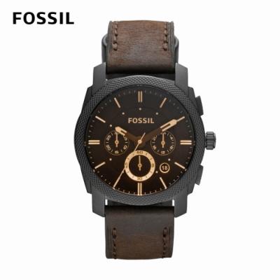 FOSSIL Machine 三眼狂野風格黑色男錶 棕色真皮皮革錶帶 42MM FS4656IE