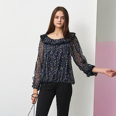 ICHE 衣哲 氣質荷葉拼接圓點雪紡紗印花造型上衣-紫外光色