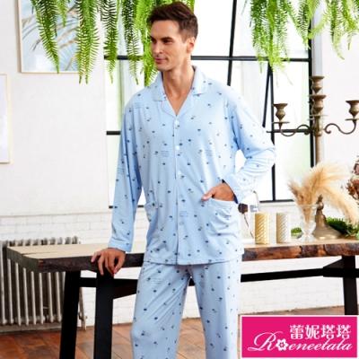睡衣 針織棉男性長袖褲裝睡衣(R88210-5度假風情) 蕾妮塔塔