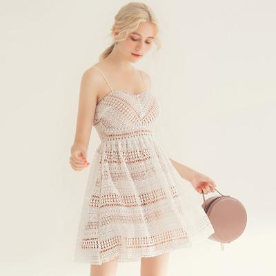 AIR SPACE 甜美細肩美胸蕾絲短洋裝(白)