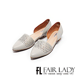 Fair Lady優雅小姐Miss Elegant雕花尖頭側空低跟鞋經典灰