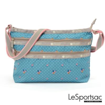 LeSportsac - Standard橫式三層拉鍊斜背包(火烈鳥/綠)
