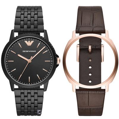 Emporio Armani  簡約紳士格調 雙錶帶框套組(AR80021)41mm