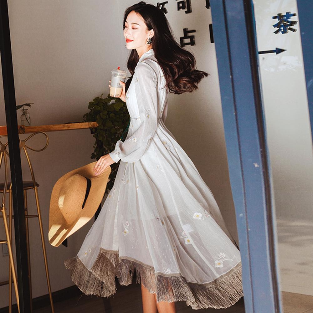 浪漫典雅流蘇裙襬長洋裝S-L-維拉森林