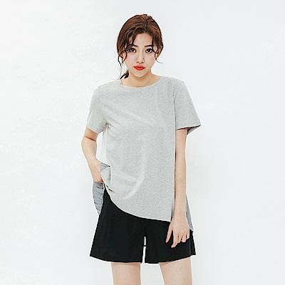 H:CONNECT 韓國品牌 女裝-百摺拼接設計感上衣-灰