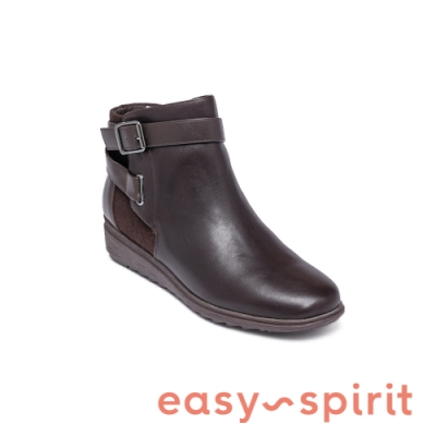 Easy Spirit-seYARA 牛皮素面氣質百搭平底短靴-咖啡色