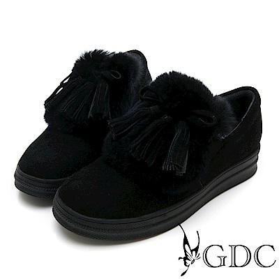 GDC-真皮毛絨蝴蝶結流蘇暖暖短靴-黑色