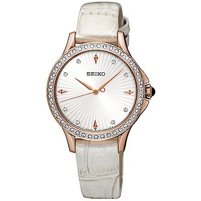 SEIKO精工 璀璨摩登晶鑽腕錶(SRZ490P1)-銀x玫瑰金/32mm