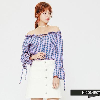 H:CONNECT 韓國品牌 女裝-甜美格紋平口上衣-藍