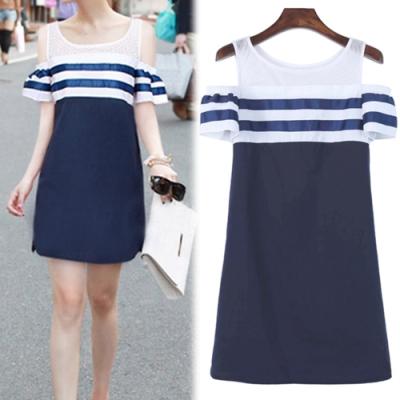 【韓國K.W.】(預購)  海島假期海軍清晰洋裝
