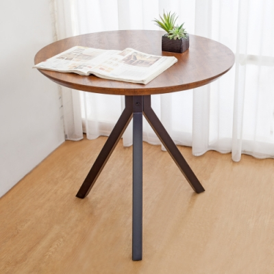 Boden-奇克2.7尺工業風圓形餐桌/洽談桌/休閒桌-80x80x76cm