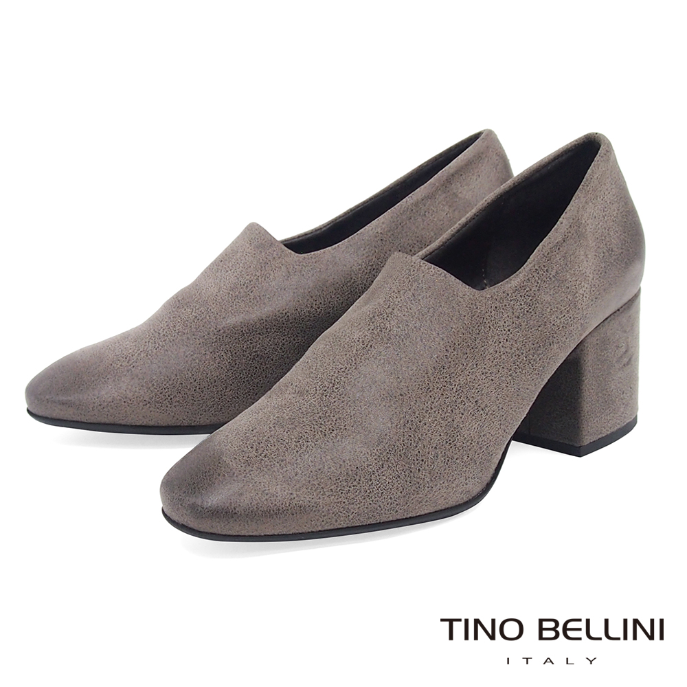 Tino Bellini義大利進口特殊啞光布料高跟踝靴_灰