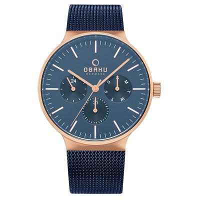 OBAKU 海洋永恆極簡之作三眼腕錶-藍(V229GMVLML)/42mm