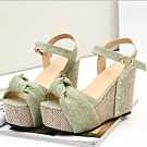 KEITH-WILL時尚鞋館 (現貨+預購) 羅馬魅力 波西米亞編織楔型跟涼鞋-綠