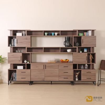 D&T 德泰傢俱 BROOK淺胡桃木10.2尺櫥櫃收納櫃組(2格層) 寬310×深41.5×高196cm