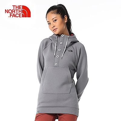The North Face北面女款灰色保暖舒適連帽T恤