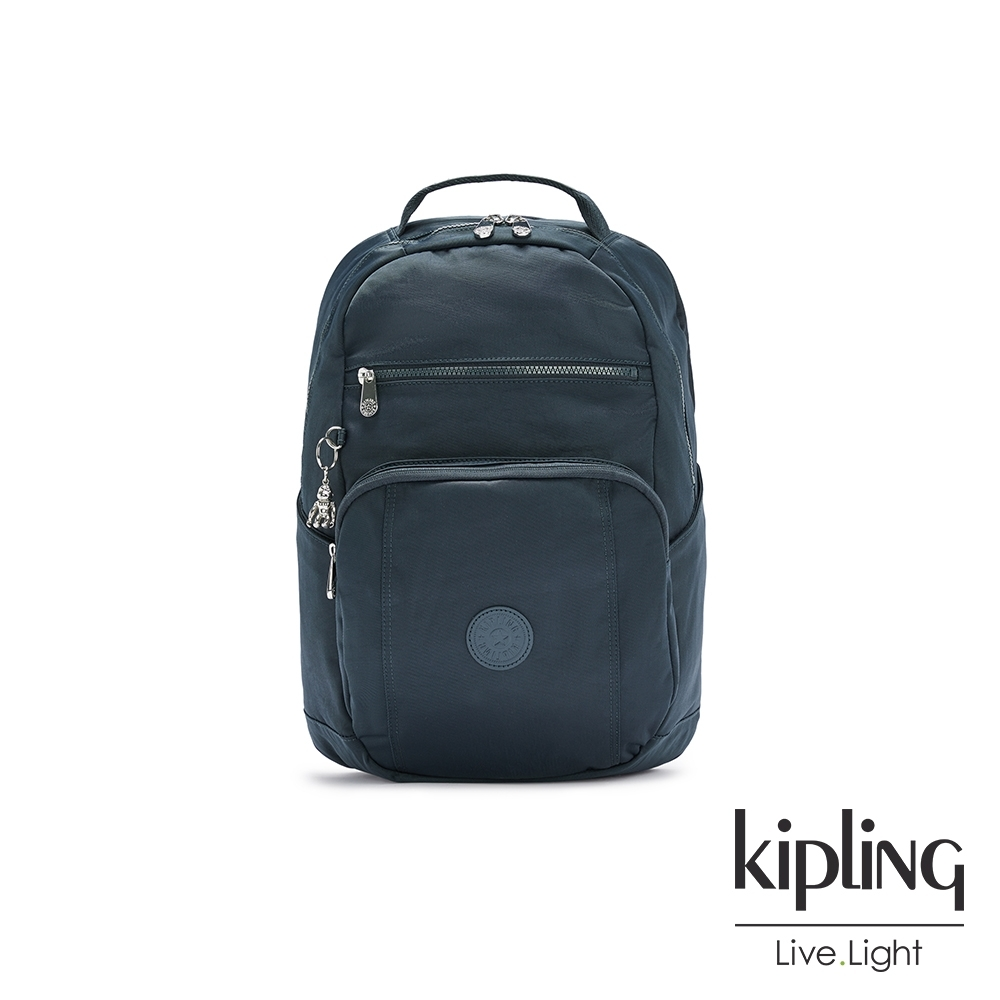 Kipling 知性優雅藍前後雙層收納後背包-TROY