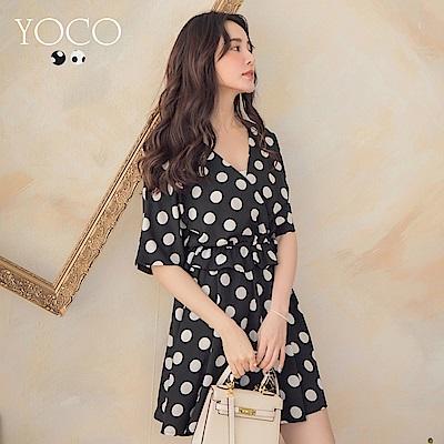 東京著衣-YOCO 復古女伶圓點落肩縮腰魚尾洋裝-S.M.L(共兩色)