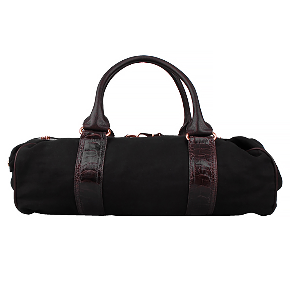 BALENCIAGA 織布手提機車包(咖啡黑底)BALENCIAGA