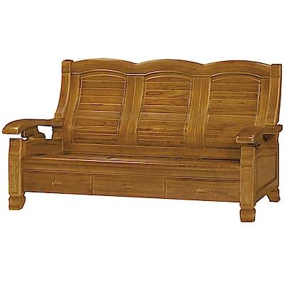 綠活居 肯尼典雅風實木三人座沙發椅(三抽屜設置)-191x75x97cm免組