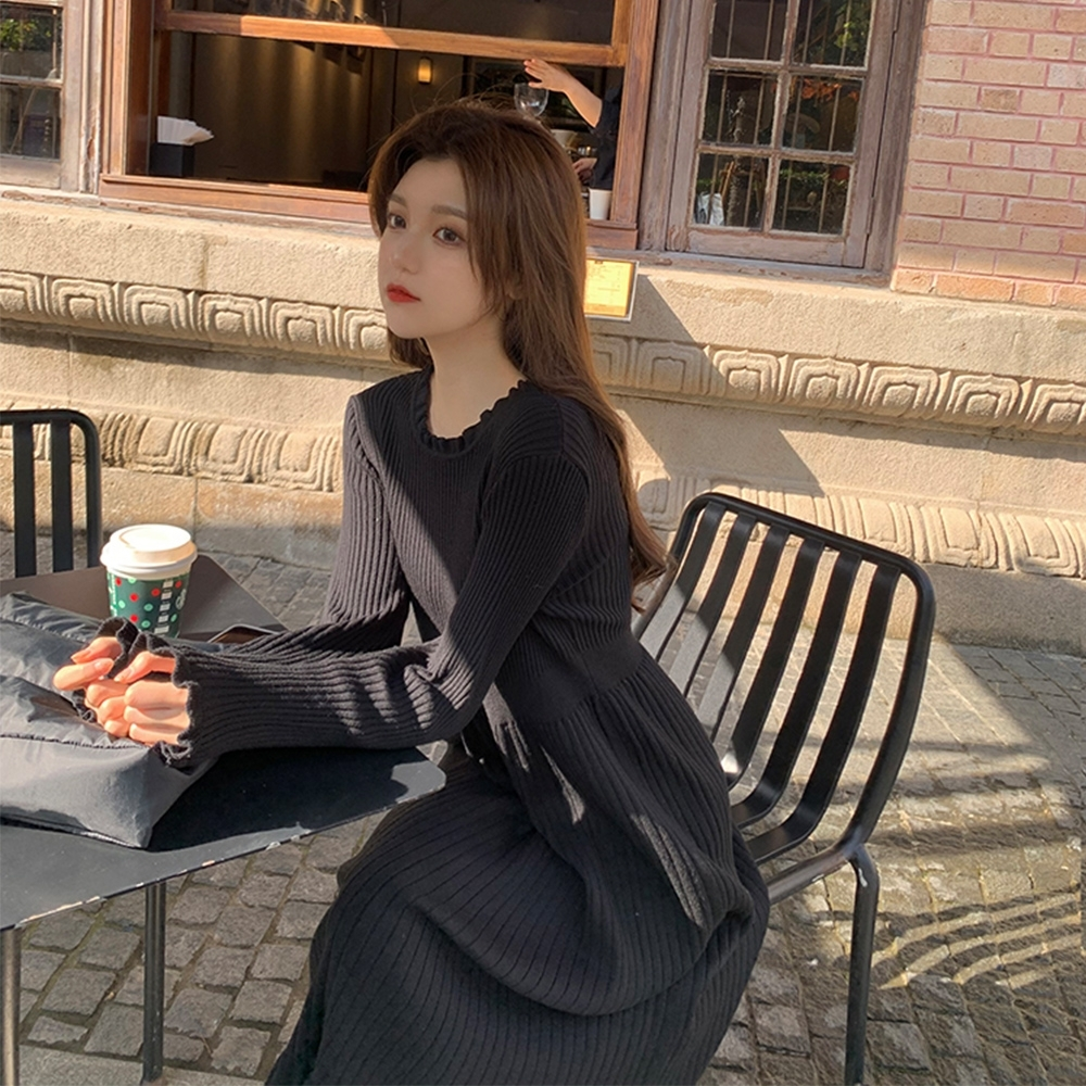 JILLI-KO 韓版波浪邊針織連衣裙- 黑/灰