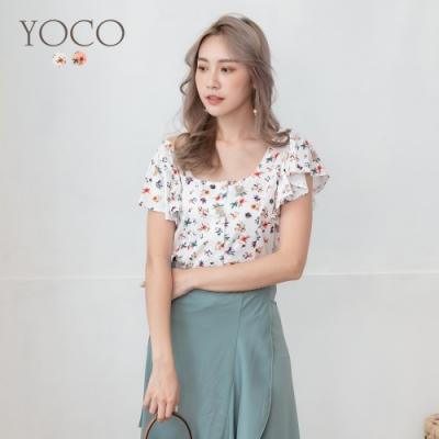 東京著衣-YOCO 浪漫名媛碎花珍珠鈕荷葉袖短版上衣-S.M.L(共二色)