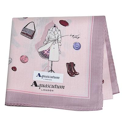 Aquascutum 品牌經典設計商品圖騰字母LOGO帕領巾(粉紅)