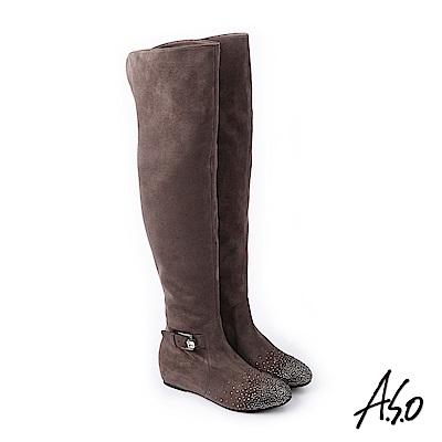 A.S.O 簡約主義 釦環裝飾細緻絨面長靴 灰
