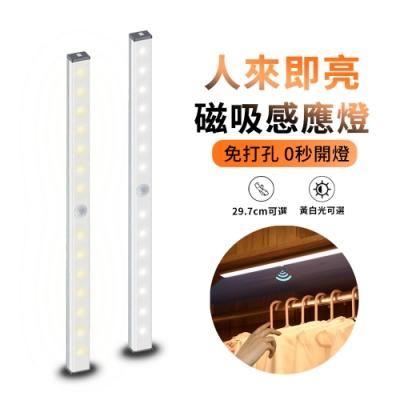 ANTIAN USB充電式磁吸感應燈 LED智能人體感應燈 小夜燈 長條燈 櫥櫃燈 床頭燈 29.7cm