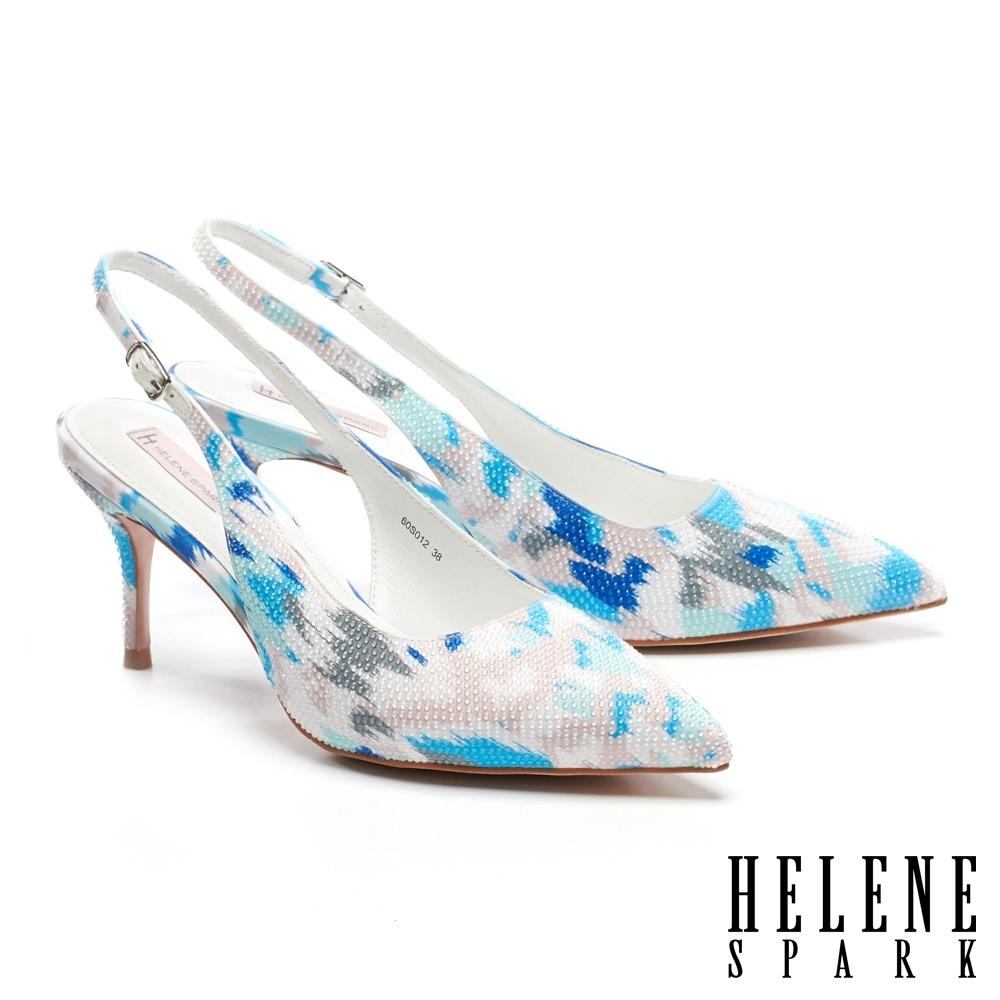 高跟鞋 HELENE SPARK 細緻晶鑽純色緞布後繫帶尖頭高跟鞋-藍