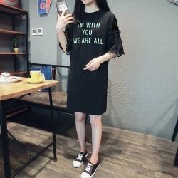 La Belleza IM WITH字母刺繡袖拼接雙層蕾絲袖棉質洋裝