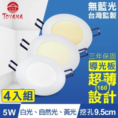 TOYAMA特亞馬5W超薄LED崁燈挖孔尺寸9.5cm(3色任選)x4件