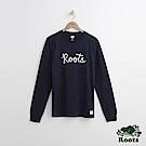 Roots 男裝- 刺繡字標長袖T恤-藍