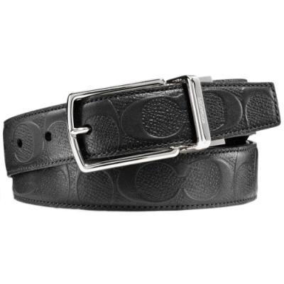 COACH 經典LOGO 浮雕牛皮男用扣式窄版皮帶-黑色