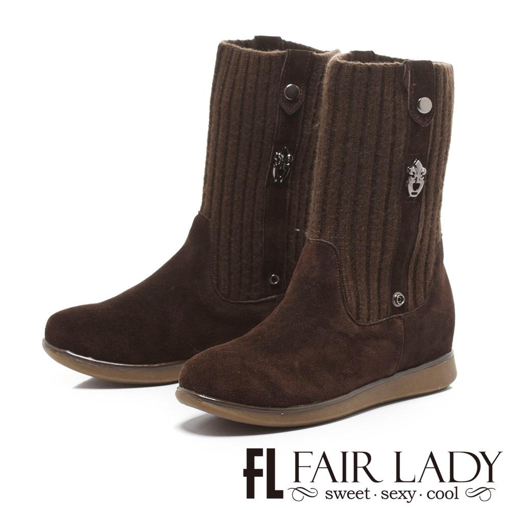 Fair Lady 羅紋拼接麂皮2way厚底短靴 咖