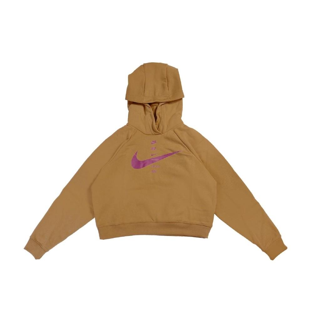 Nike 帽T NSW Swoosh Hoodie 女款 連帽上衣 寬鬆 短版 穿搭 勾勾 棕 紫 CU5677201