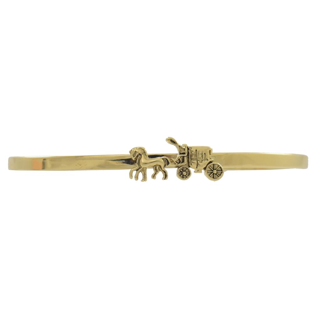 COACH 經典立體馬車LOGO造型手環(金)COACH