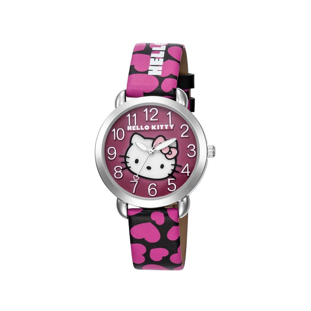 HELLO KITTY 凱蒂貓 繽紛愛心立體貓頭手錶 黑桃x桃紫面/36mm