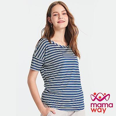 Mamaway  圓領橫紋孕哺上衣(共2色)